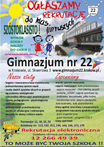 DNI OTWARTE Gimnazjum 22 w Krakowie